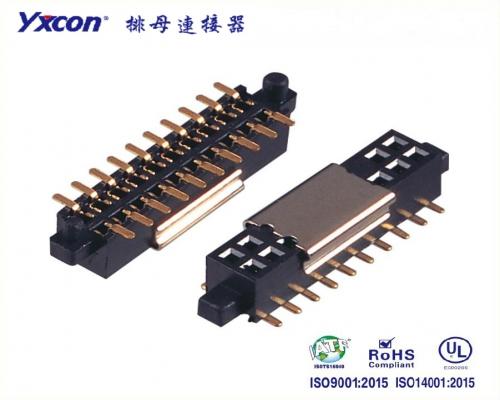 1.27排母 塑高3.4 双排  SMT  U型  带外柱大小柱  PA6T 加金属夹持盖音响连接器
