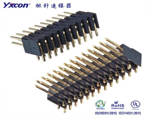 2.54排针 双排 单塑 H7.4 90度 成型塑胶 PA6T/专业化定制/校园智能/智能识别连接器
