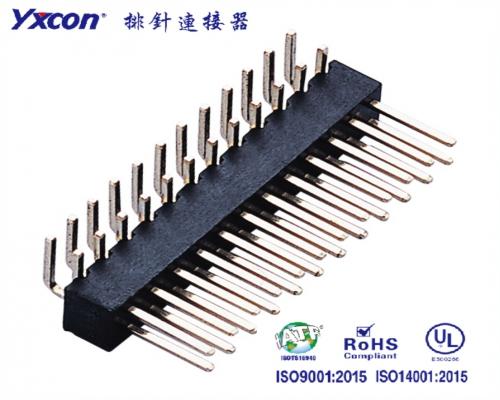 2.54排针 双排 单塑 H4.3 90度 镀金 尺寸可定制 PA6T/专业化定制/LED灯连接器/音响连接器