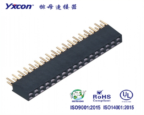 2.0排母 塑高6.35 双排  2X18P 180度  Y型  PA6T  波浪型/电表连接器