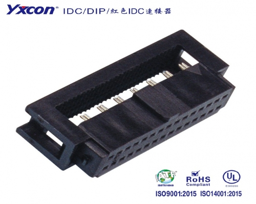 1.27间距 2.54排距 IDC 塑高5.2 Y型 三件式 带凸点/线对板连接器