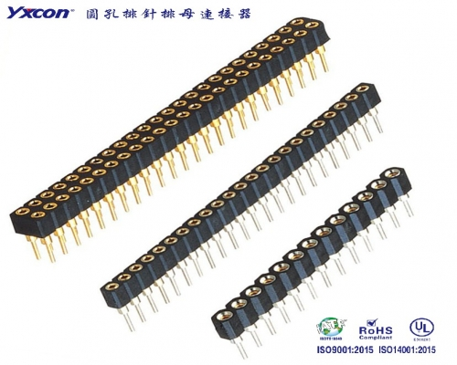 2.0圆孔排母 塑高2.8 双排180度 PPS 全金/内金外锡/1.27mm间距/2.0mm间距/2.54mm间距
