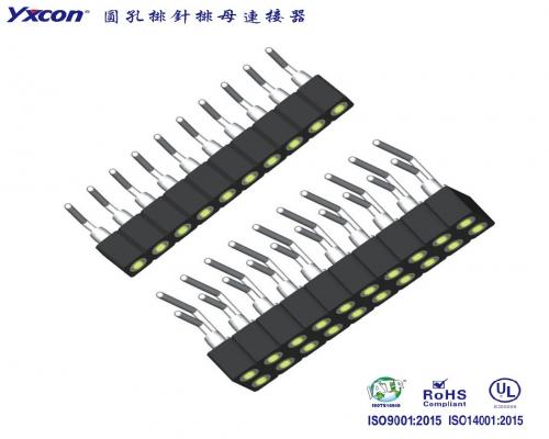 2.54圆孔排母 90度 塑高3.0 PPS 内金外锡/应用于电脑/电表/电视/家电/显示屏/医疗/新能源汽车等各种板对板连接