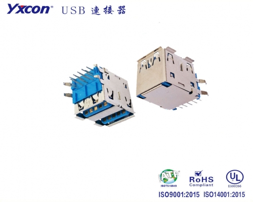 USB 3.0 AF 90度 双层 蓝胶 GF/专业化定制/电视/家电连接器