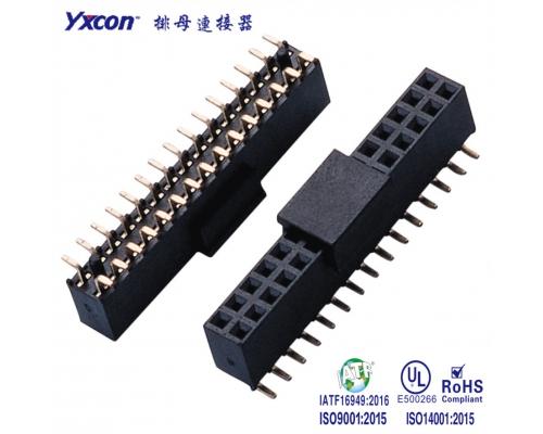 2.0排母 塑高6.35 双排  2-15P SMT  Y型  PA6T  带柱/新能源汽车等各种板对板连接
