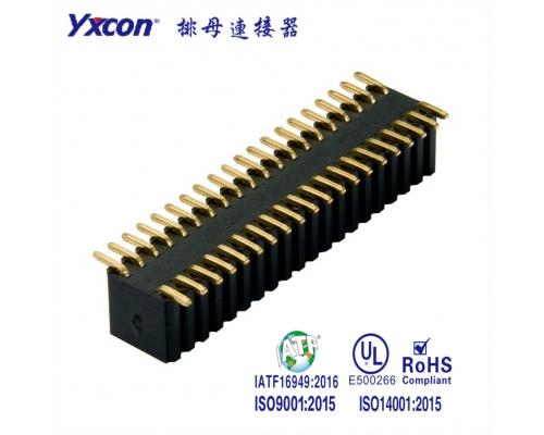 1.27排母 塑高4.6 双排  SMT  排距2.54  Y型  PA6T/专业化定制/电视/家电连接器