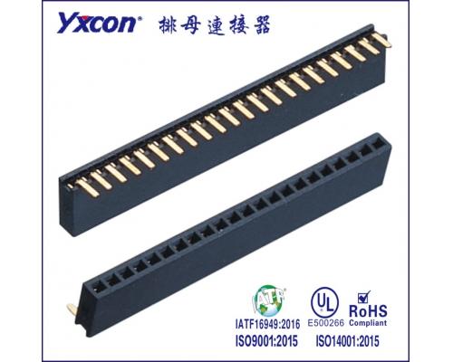 1.27单排母 塑高4.3 90度 磷铜 耐高温 PA6T/专业化定制/应用于电脑/电表连接器